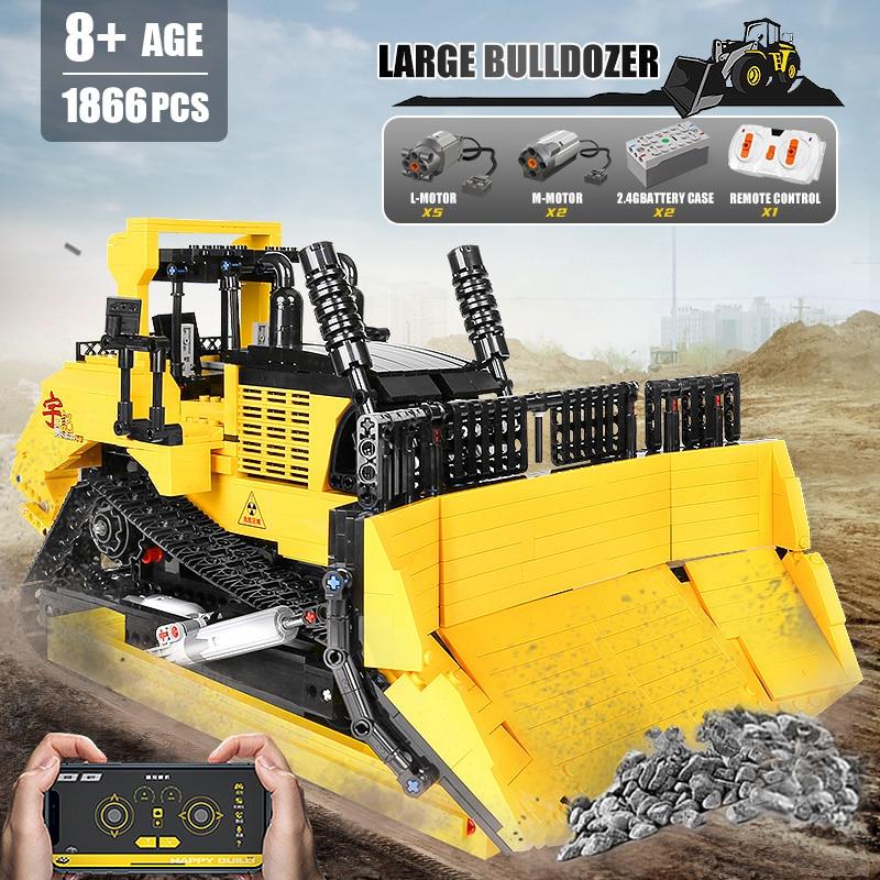 Yeshin 22011 APP RC Control Big Bulldozer Building Blocks Bricks Assembly 20008 Motorized High-Tech Car