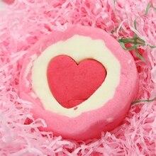 Пузырь сердце ванна бомба натуральный газированный для женщин релиз цвет% 2CScent% 2C и пузырьки X7JA