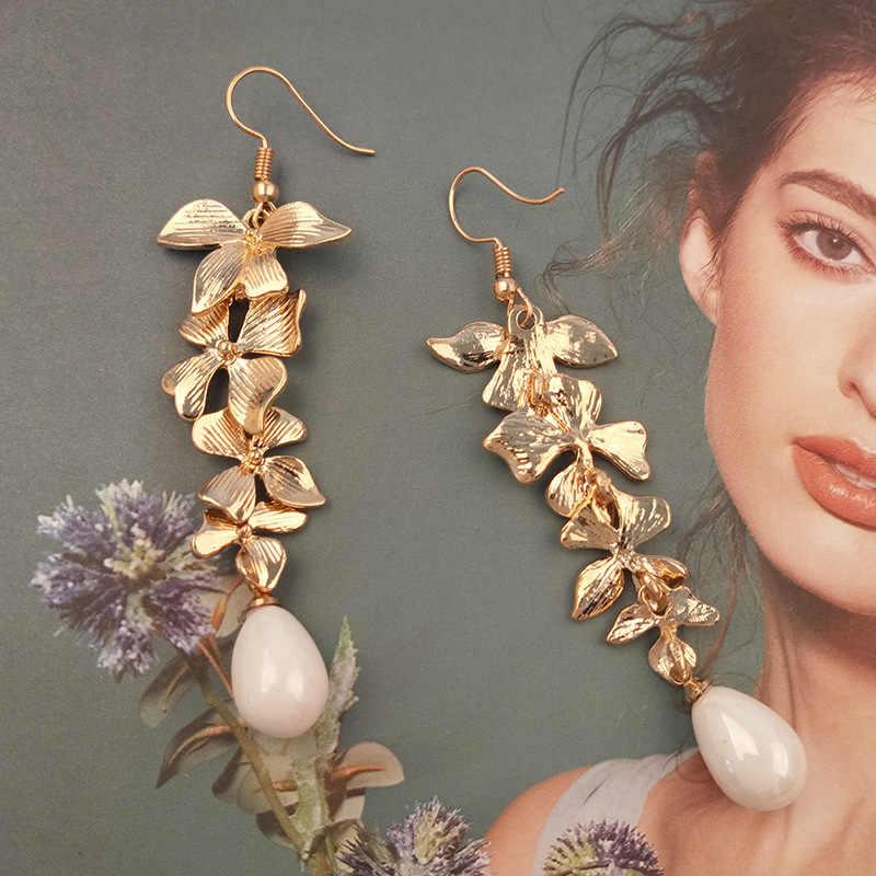 아름 다운 난초 꽃과 진주 드롭 귀걸이 여자를위한 패션 쥬얼리 선물 귀걸이 여자 빈티지 패션 귀걸이