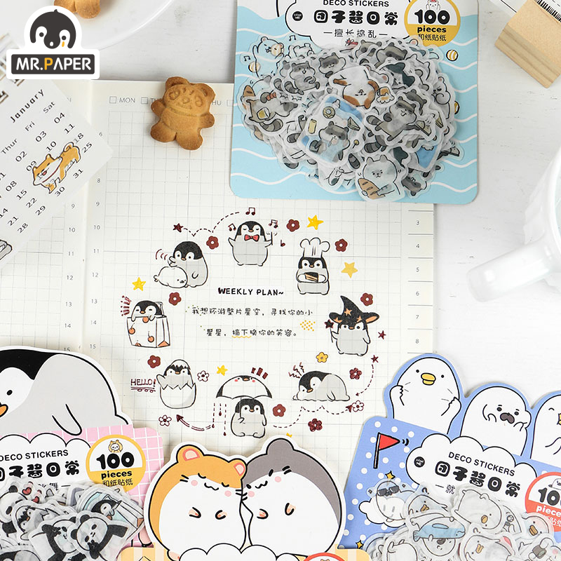Mr.paper 4 Designs 100Pcs/lot Animal Daily Deco Washi Diary Stickers Scrapbooking Planner Bullet Journal Doodling Stationery