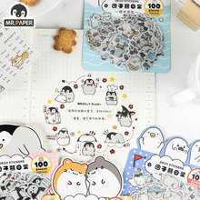 Mr.paper 4 Designs 100Pcs/lot Animal Daily Deco Washi Diary Stickers Scrapbooking Planner Bullet Journal Doodling Stationery sticker scrapbooking cute girls planner book cartoon washi tapes label diy diary bullet journal kids handbook deco stickers
