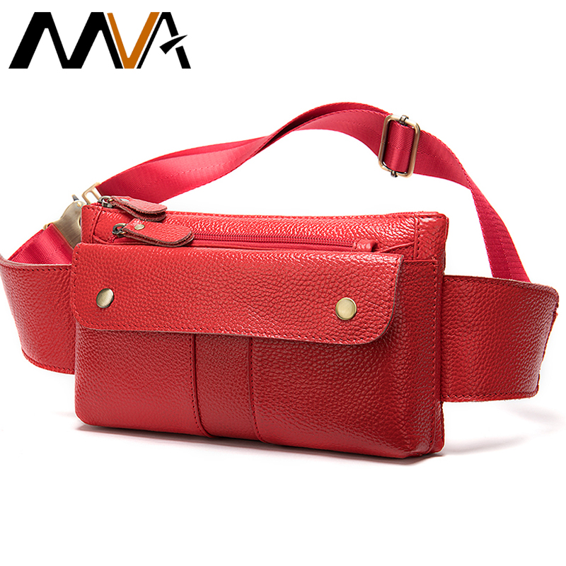 MVA Genuine Leather Belt Bag Women's Waist Bag Small Female Fanny Pack For Women Waist Pack Leather Waist Bags Womens Chest Bag