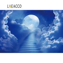 Laeacco Photo Backdrops Fairytale Moon Blue Cloud Paradise Steps Party Scenic Photographic Backgrounds Photocall Studio
