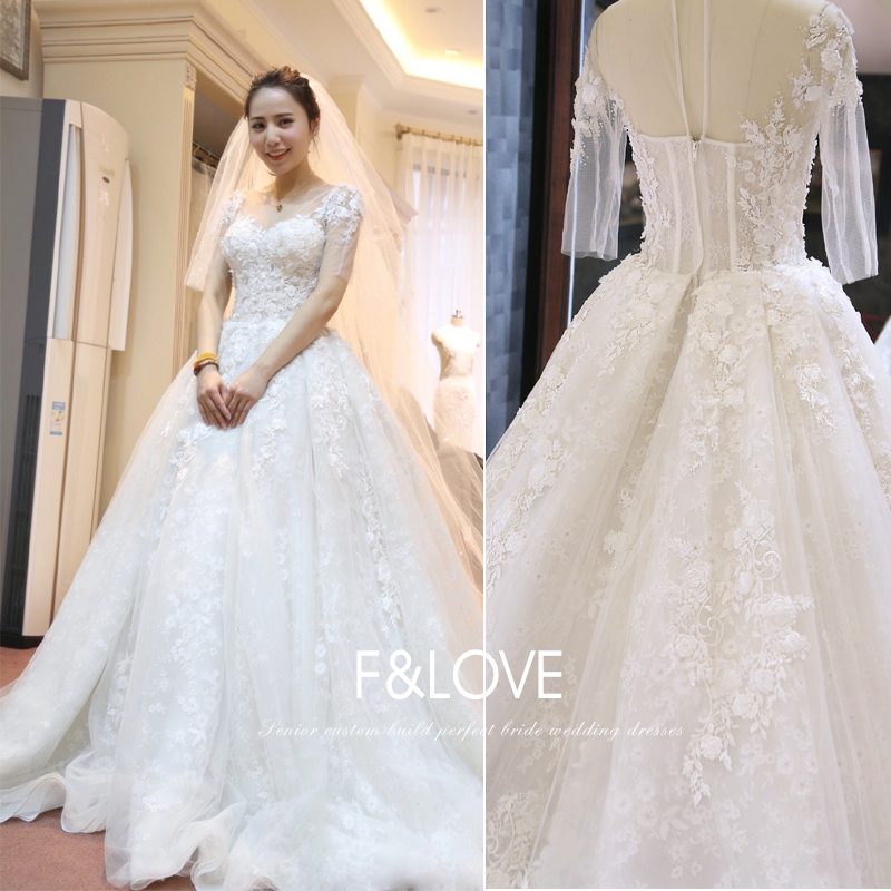 Luxury Real-picture Appliques Vestido De Noiva 2018 Sexy Half Sleeve Vintage Lace Bridal Ball Gown Mother Of The Bride Dresses
