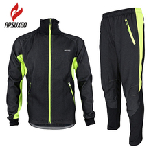 ARSUXEO Winter Warm Up Fleece Thermal Cycling MTB Bike Bicycle Jacket Pants Suit Windproof Waterproof Wind Coat Clothing Set цена