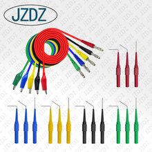 JZDZ J.T20  Alligator clip to Banana plug test lead test probe connect to 4mm banana plug for electrical back probe kit electrical probe testing lead wire hooks yellow 20 pack