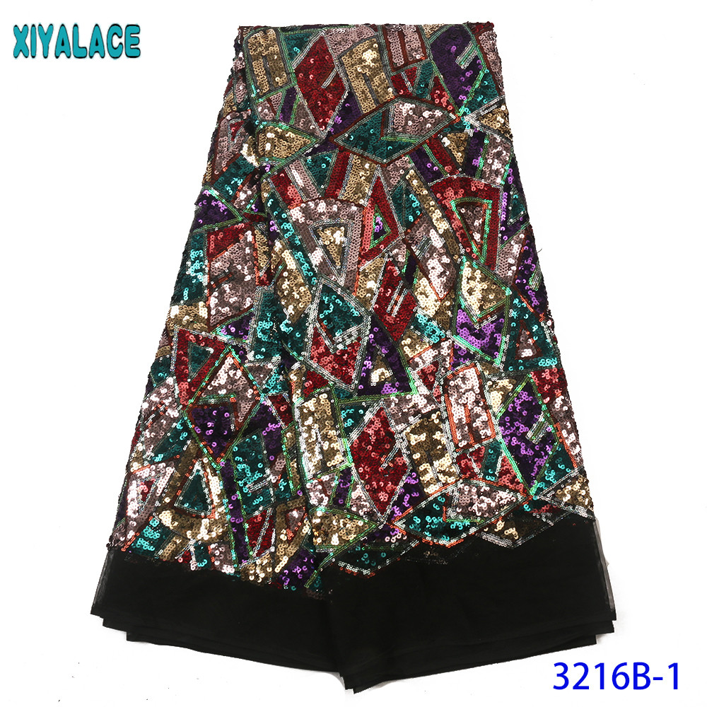 2020 African Sequins Fabric French Net Laces Fabric Colorful Nigerian Tulle Laces With Sequence For Women Dresses KS3216B