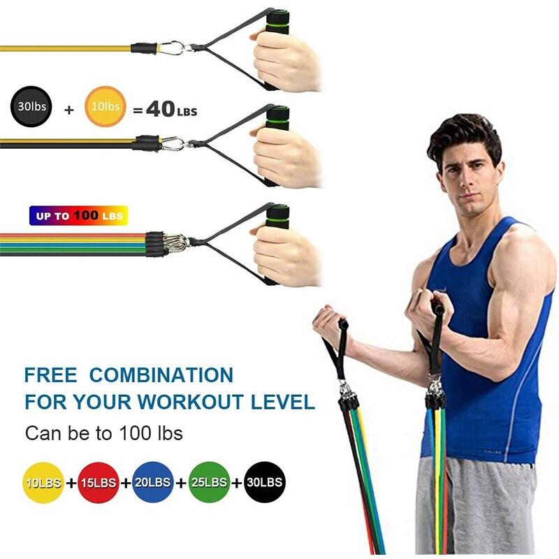 Комплект эспандеров 17 шт., эластичная резиновая лента для упражнений для фитнеса, домашних тренировок, спортзалов и тренировок-2