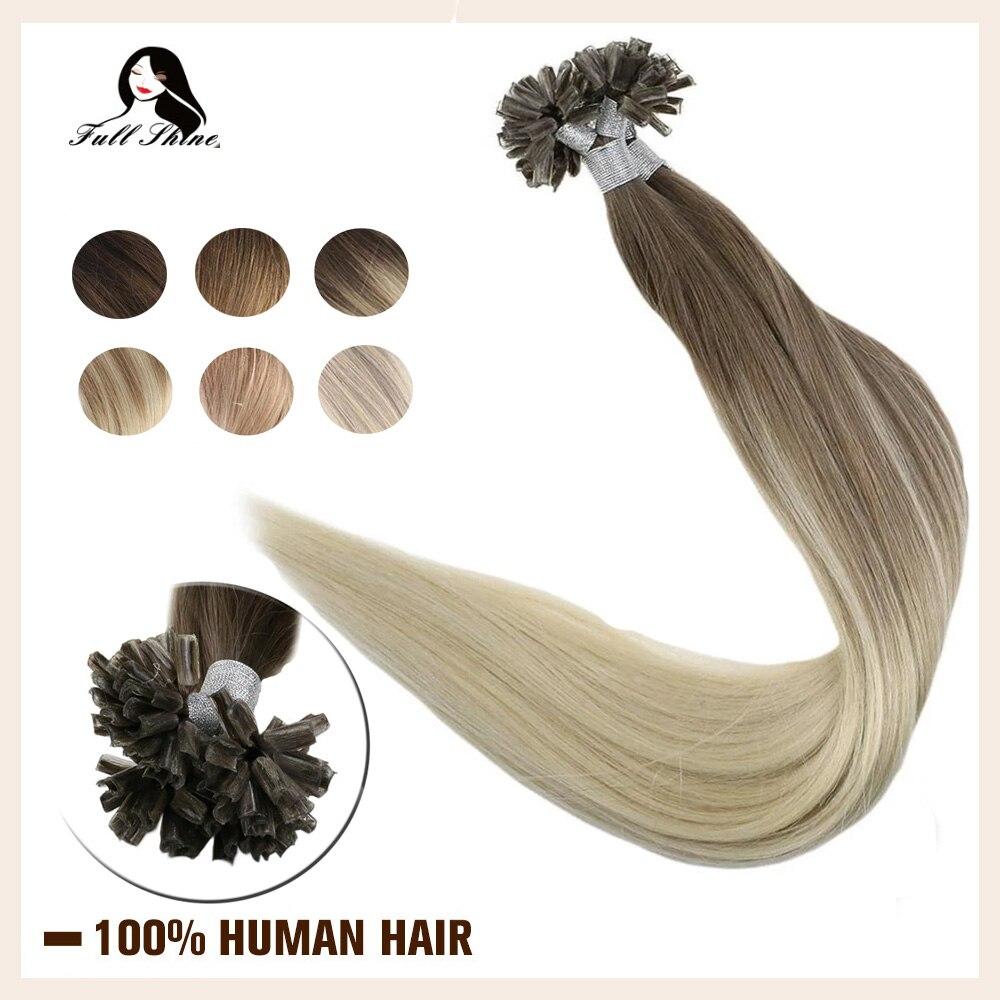 Extensiones de pelo de brillo completo U Tip extensiones de color de Balayage #8/60 50g Remy Fusion U Tip extensiones de cabello cabello humano