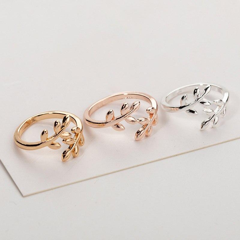 Женское кольцо в форме листа, простое кольцо с регулируемым размером цвета розового золота и серебра, 2020