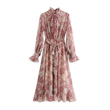 Long Sleeve Dress Women Vintage Floral Print Sashes Ruffled Pleated Dress Autumn Winter Fashion Bow Tie Party Dress kids floral print bow tie cami dress