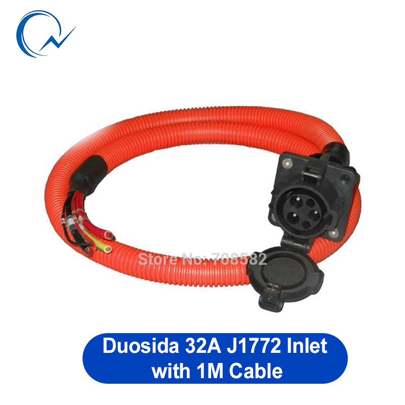 32A SAE J1772 AC Inlet/socket/connector With 1m UL/TUV Cable Single Phase Level 2 For EV/Electric Car Charging Duosida In Stock