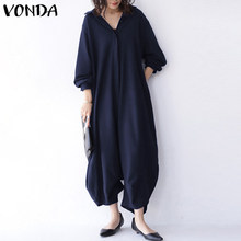 S-5XL Autumn Rompers Casual Long Sleeve Solid Turn Down Collar Office Overalls VONDA Women Casual Loose Drop Crotch Jumpsuits(China)