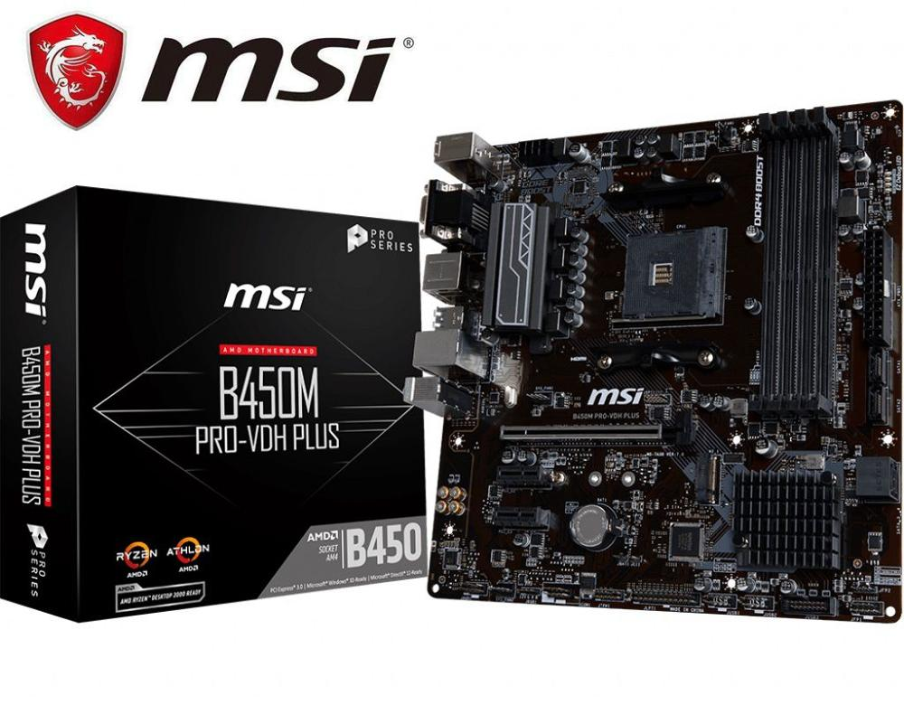 New MSI B450M PRO-VDH PLUS Original Motherboard Socket AM4 DDR4 USB2.0 USB3.1 64GB B450 Desktop Motherborad