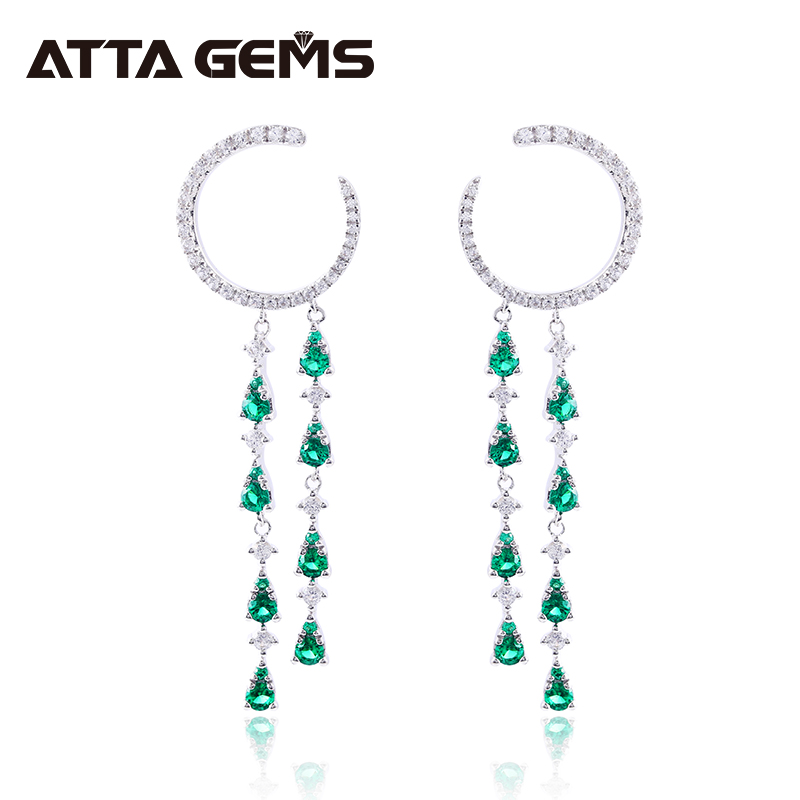 Green Emerald Women Fashion Sterling Silver Earring Rain Design for Pary Jewelry S925 Elegant Romantic Style Jewelry Gifts