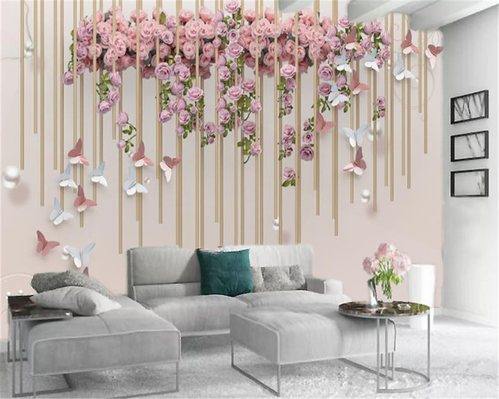 3d Home Wallpaper Romantic And Beautiful Pink Rose Butterfly Wind Chime Digital Printing HD Decorative Beautiful Wallpaper
