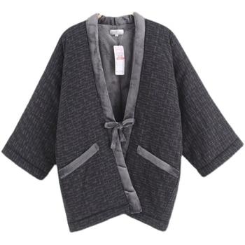 Hanten-Kimono japonés para Hombre, cárdigan cálido, Yukata de algodón, pijamas de estilo japonés Vintage, Haori, Invierno