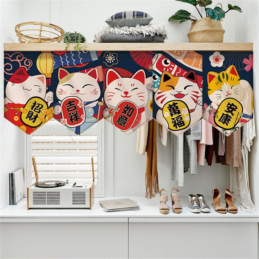 Japanese-style Cartoon Cute Partition Flag Curtain Kitchen Window Kitchen Half Curtain Cartoon triangular Door Panels  MY074#5