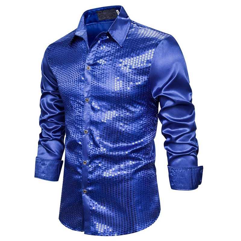 CYSINCOS חדש Men'Luxury נצנצים שמלת חולצות ארוך שרוול משי סאטן מבריק גברים תחתונית שלב ריקוד חולצות