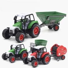 Coche de granjero grande con resistencia 1:32, Tractor con luz de inercia, remolque, modelo musical, Tractor, remolques, camión, juguete de Navidad para niños
