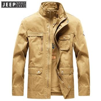 JEEP SPIRIT Autumn Jacket Men Military Casual Mid-long Coat Male Stand Collar Multi-pockets Cotton Men Jacket chaqueta hombre