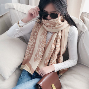 Image 5 - Leopard Print Winter Cashmere Scarf Women 2020 New Thick Warm Shawls and Wraps Summer Office Lady Air Conditioner Ppashmina
