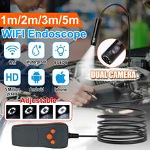 Dual Lens 8mm Endoscope HD  Wifi Borescope Camera IP67 Waterproof Inspection Camera with 6 LEDs Side Cam  for Android PC iPhone
