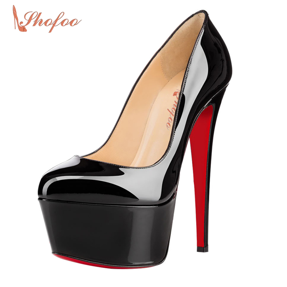 Black Women's Round Toe High Heels Platform Stiletto Slip On Pumps Wedding Party Red Bottom Sexy Classic Shoes Large Size 11 16