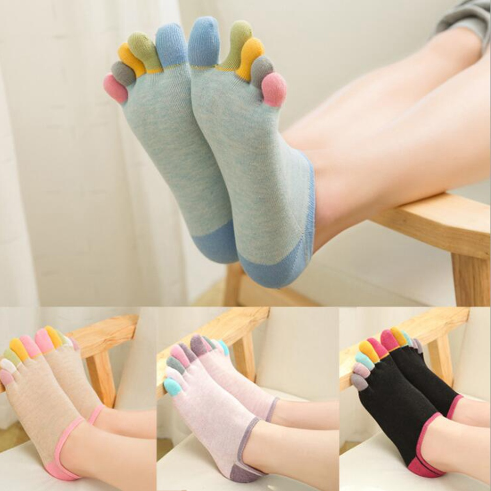 1 Pair Of Cotton Five-finger Socks Women Low To Help Color Toe Socks With Sweat-absorbent 5 Toe Invisible Deodorant Toe Socks