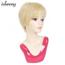 Hair-Wig Silk-Top Human-Hair Blonde-Color Isheeny Women Short Pixie with Natural-Bangs