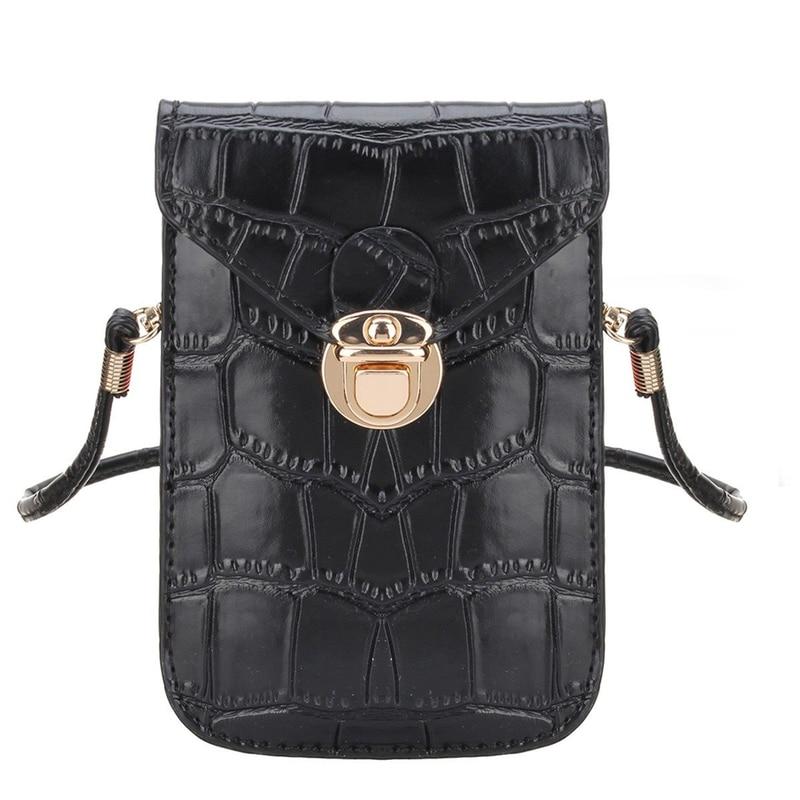 Silver Mobile Phone Mini Bags Small Clutches Shoulder Bag Crocodile Leather Women Handbag Black Clutch Purse Handbag Flap Black