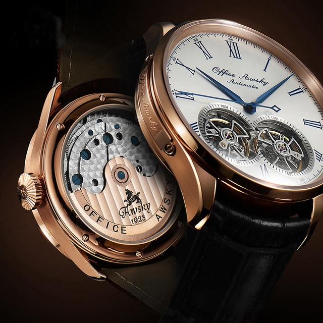 แบรนด์คู่อัตโนมัตินาฬิกาไพลินคริสตัล 3ATM เข็มขัดแฟชั่น flywheel นาฬิกาข้อมือชาย