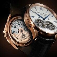 Marca nome duplo volante automático relógios mecânicos safira cristal 3atm cinto negócios moda volante masculino relógio de pulso