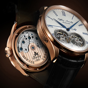 Image 1 - Marka adı çift volan otomatik mekanik saatler safir kristal 3ATM kemer iş moda volan erkek kol saati