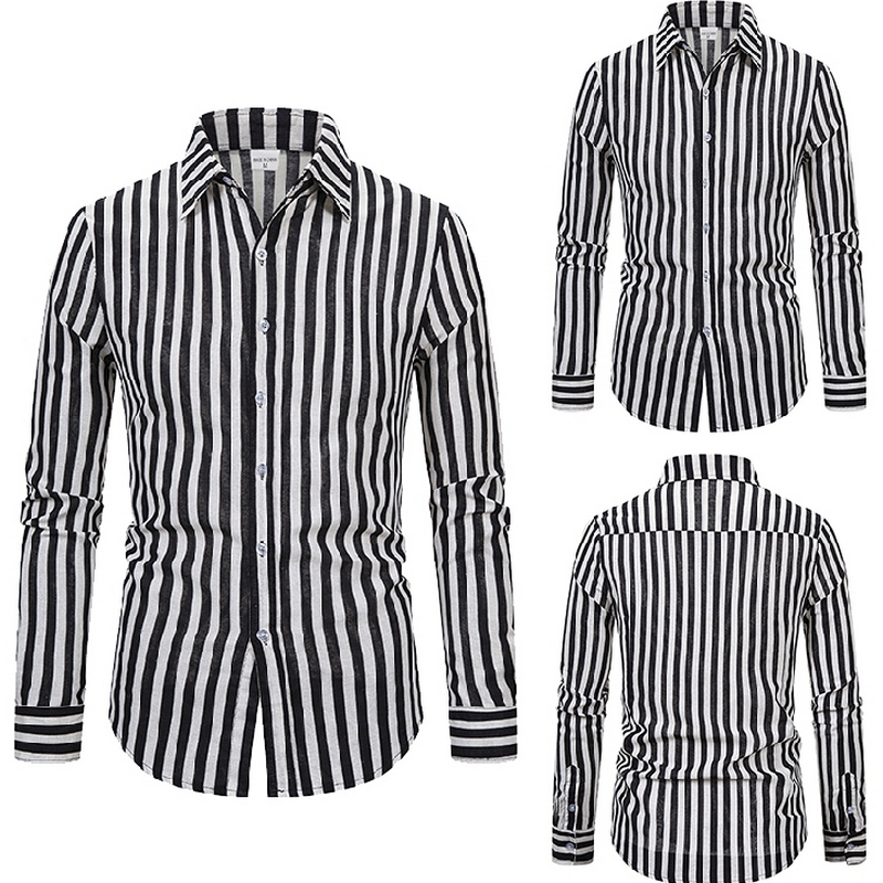 Fashion Striped Men Shirt Lapel Neck Button Streetwear Casual Brand Shirts Men Hip-hop Long Sleeve Tops Camisa 2020