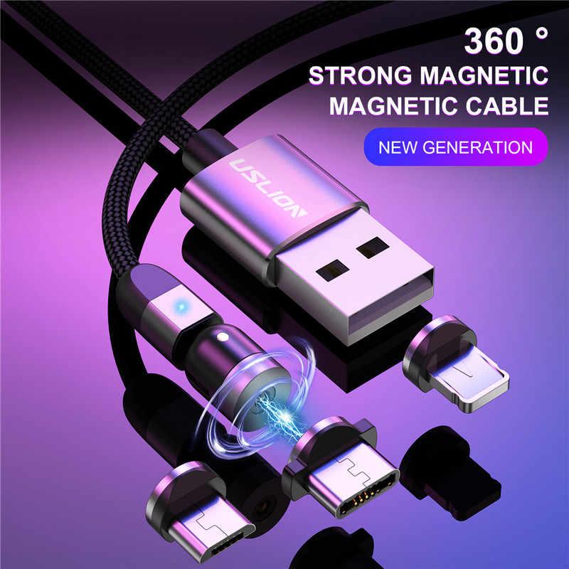 Uslion 2020 Baru 540 Derajat Memutar Kabel Micro USB Tipe C Kabel Magnetic Pengisian CABLE untuk iPhone 11 Pro max Data Line