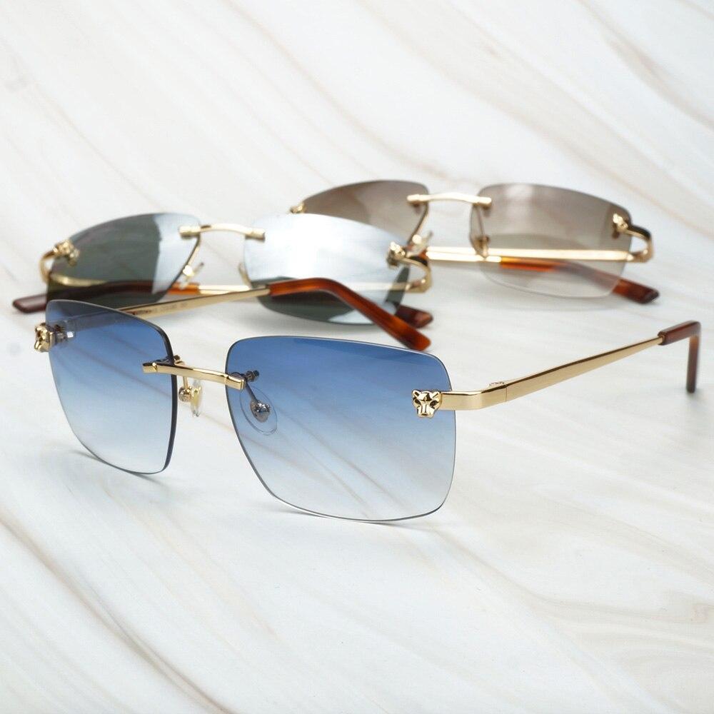Leopard Sunglasses Men Rimless Sun Glasses For Driving Wedding Club Carter Glasses Frame For Decoration Lunette Soleil Femme