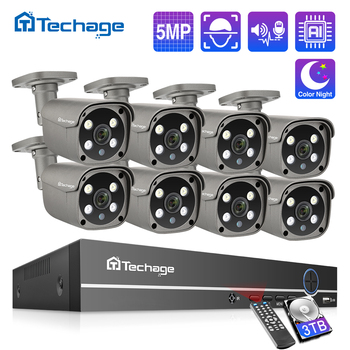 Techage 8CH 5MP HD POE NVR Kit CCTV Security System Two Way Audio AI Face Detect IP Camera Outdoor Video Surveillance Camera Set face recognition 8ch poe network nvr cctv system kit hd 5mp ip camera ir ip66 outdoor waterproof video security surveillance set