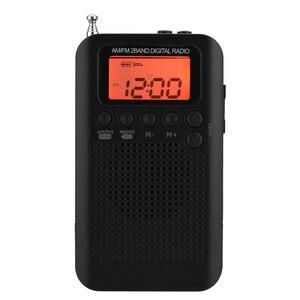 Image 4 - Mini LCD cyfrowy głośnik radiowy FM/AM budzik wyświetlacz czasu gniazdo jack do słuchawek 3.5mm radio przenośne