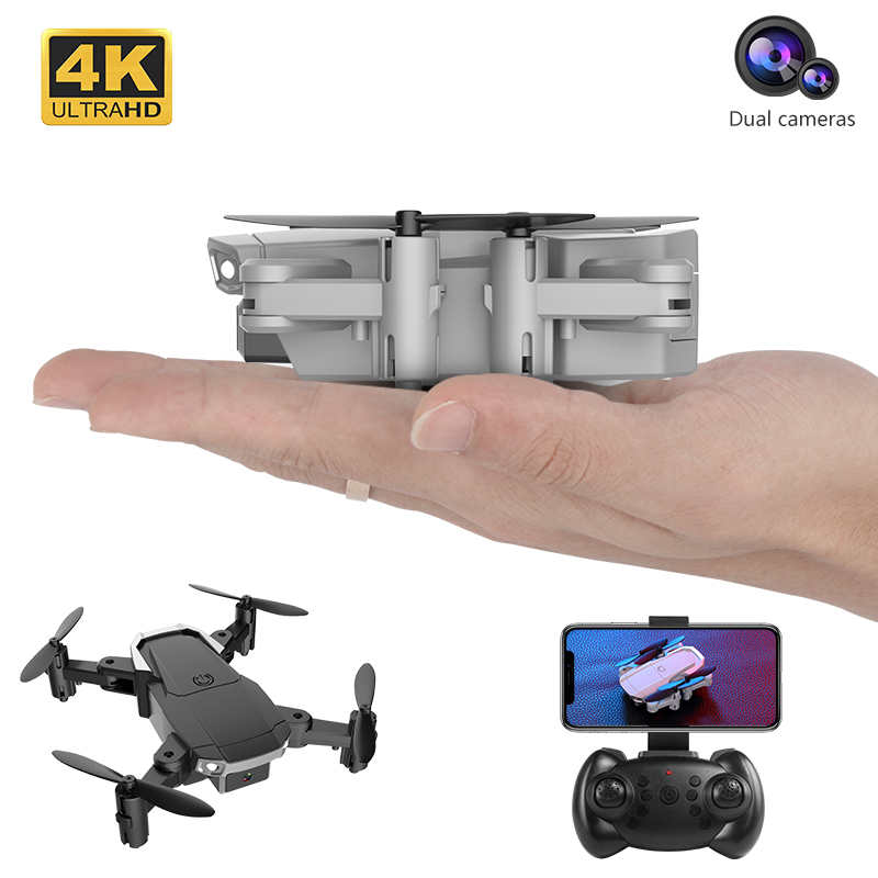 Best 4K HD Double Camera RC Foldable Drone with Live WIFI FPV Selfie Optical Flow Stable Height Fly Quadcopter RC Helicopter