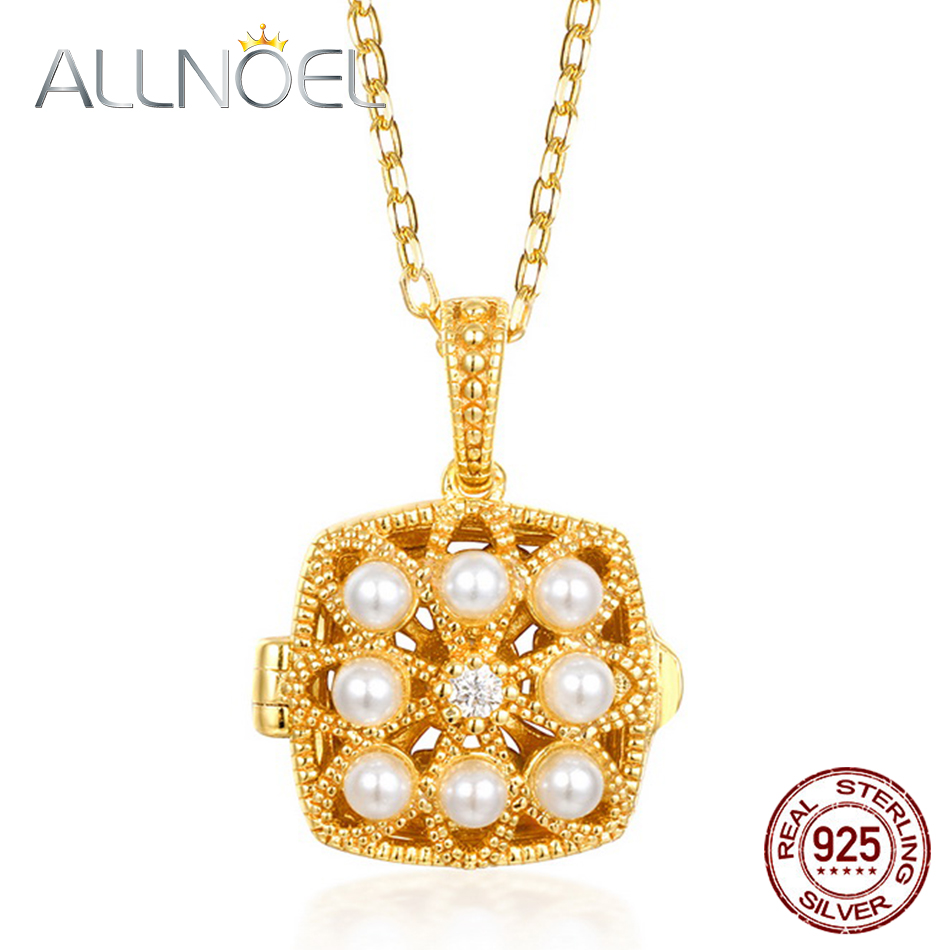 ALLNOEL 925 Sterling Silver Women Necklace Handmade Pearl 5A White Zirconium Pearl Necklace Real Gold Engagement Fine Jewelry