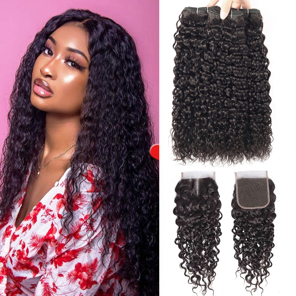 Sapphire Water Wave Bundles With Closure Brazilian Hair Weave Bundles With Closure Remy Curly Human Hair 3 Bundles With Closure