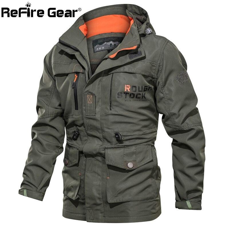 ReFire Gear Autumn Military Tactical Jackets Men Winter Hooded Windbreaker Army Jacket Casual Waterproof Many Pocket Cargo Coats