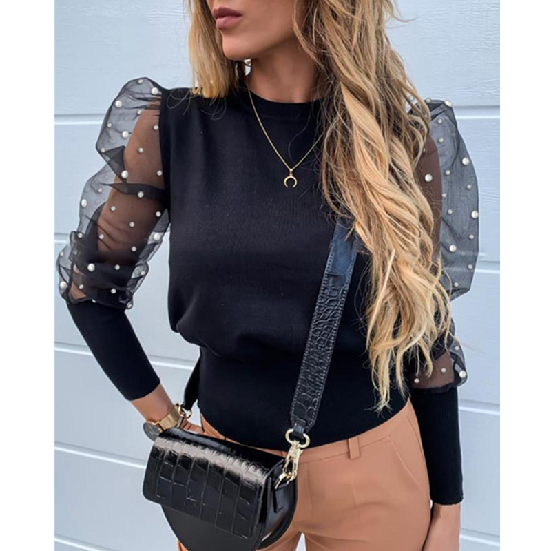 Plus Size Solid Pearl Beaded Design Puff Sleeve Top Women Mesh Insert Beading Long Sleeve Womens Tops And Blouses Shirt Femme