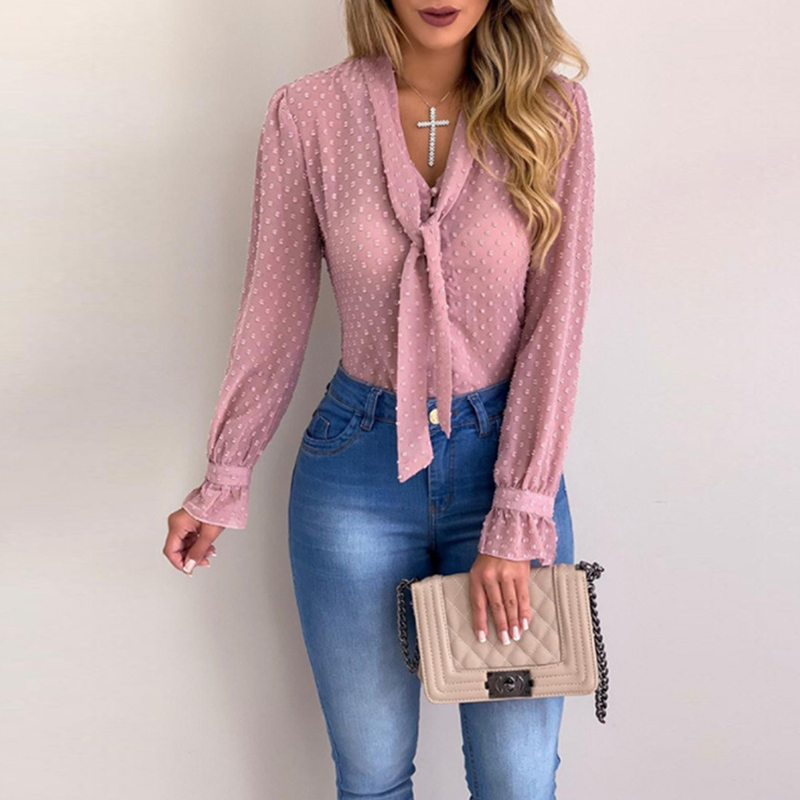 Elegant Blouse For Women Solid Bow Tie V Neck Slim Blouse Femme 5XL Plus Size Office Lady Chiffon Blouse Polka Dot Top Mujer