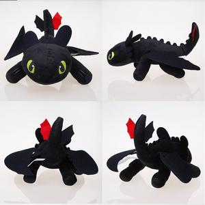 Image 1 - 25cm Nacht Fury Plüsch Spielzeug Wie Trainieren sie Ihre Dragon Zahnlos Füllte Spielzeug Weiche Baumwolle Tier Plüsch Puppen für kinder Kinder Geschenke