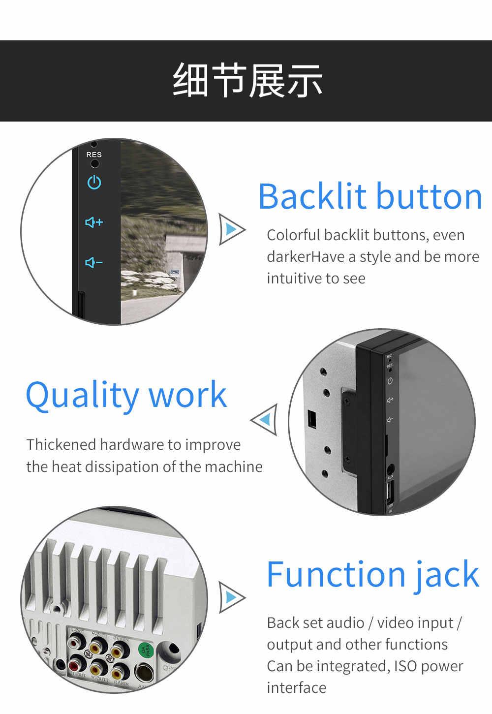 """Autoradio カーラジオプレーヤー Bluetooth 2 din オーディオステレオ MP5 タッチ Multimidia 反転画像自動 Mirrorlink 7 """"USB/ aux"""