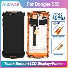 AiBaoQi yeni orijinal 5.5 inç dokunmatik ekran + 1440x720 LCD ekran meclisi için Doogee S55/S55 Lite telefon