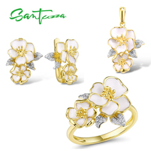 SANTUZZA  Jewelry Set for Women 925 Sterling Silver White Orchid Flowers Pendant Earrings Ring Set Fine Jewelry Handmade Enamel цена и фото