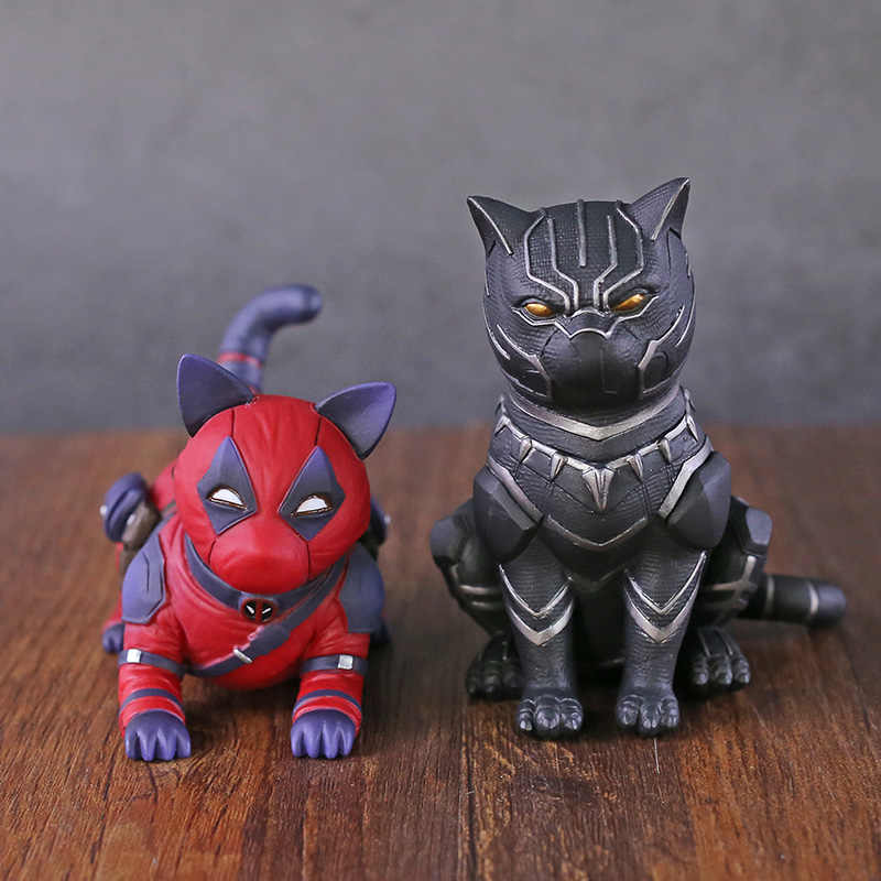 Deadpool/Pantera Negra Cosplay Gato Ornamento PVC Figura Collectible Toy Modelo
